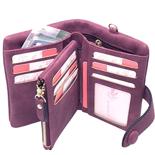 for Women Ladies Wristlet Clutch Large Capacity Zipper Purse for Coins Card Holder Organizer(Purple) ()