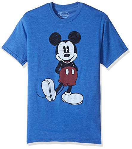 Disney Men's Full Size Mickey Mouse Distressed Look T-Shirt, Royal Heather, Large for $<!--$19.00-->