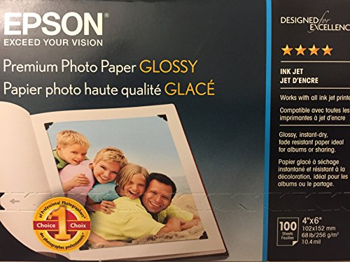 Epson 100-ct. Premium Glossy Ink Jet Photo Paper 4u0022x6u0022