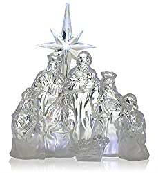 Nativity Scene - LED Acrylic Christmas Nativity - Battery Operated Manger Table Top Decoration - Holy Family - Christmas Decorations