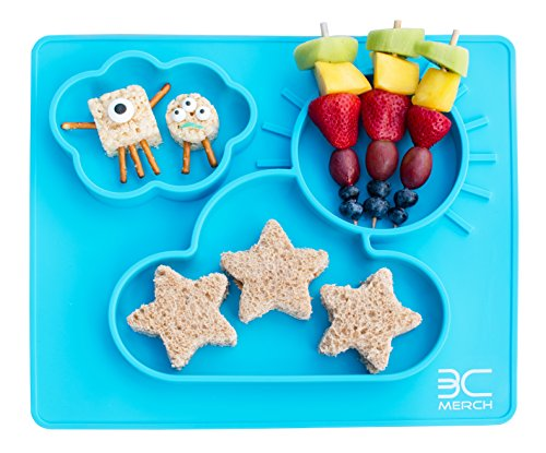 "3D Silicone Baby Feeding Placemat, Non-Slip Dishwasher-Safe 3 Compartment Toddler Plate Mat (13.5"" x 12"")"