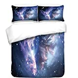 3Pcs Duvet Cover Set,Space Decorations,Mysterious Nebula Gas Cloud in Deep Ouuter Space with Star Cluster Universe Solar,Navy Purple,Best Bedding Gifts for Family/Friends
