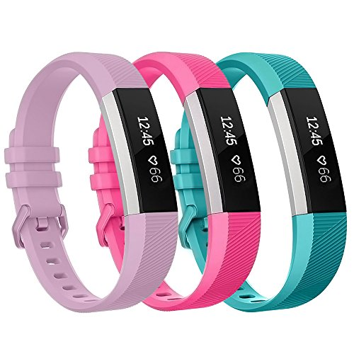 Fitbit Alta HR Bands Small 3 Color, Henoda Soft Silicone Replacement Wristband Accessories with Secure Metal Buckle Clasp for Fitbit Alta HR Sport Smart Watch