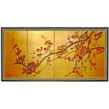 Oriental Furniture Extra Large Size Simple Asian Wall Art, 6-Feet Wide Oriental Cherry Blossom Gold Leaf Screen Painting