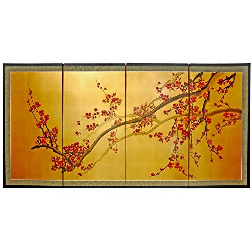 Oriental Furniture Plum Tree on Gold Leaf - 36