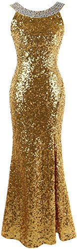 Angel-fashions Women's Round Neck Beading Sequin Backless Slit Party Dress Medium Gold