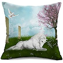 "Alicemall 3D Unicorn Throw Pillow Covers White Horse on Green Grassland Decorative Soft Cushion Covers, 18"" x 18"" Square Pillow Cases (Horse Green)"