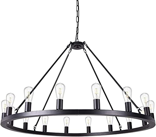 Wellmet Matte Black Wagon Wheel Chandelier 16-Light Diam 47 inch