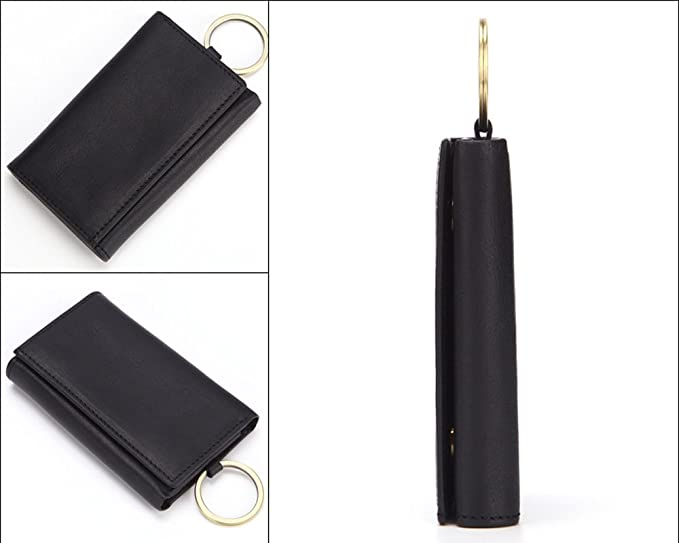 7b4f0f72fb3c Mayshe Men s Genuine Leather 7 Hook Key Case Car Key Holder Wallet Coin  Purse Black at Amazon Men s Clothing store
