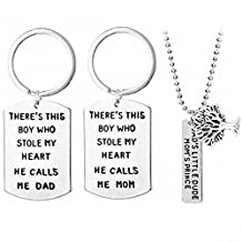TISDA 3 Piece Keychain Pendant Necklace Set,DAD'S Little Dude MOM'S Prince,Little Boy Love Mothers Fathers Pendant Necklace