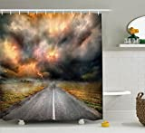Lake House Decor Shower Curtain Set By Ambesonne, Dusty Storm Clouds And Lightning Over Highway In The Field Electrical Activity Print, Bathroom Accessories, 69W X 70L Inches, Orange Grey