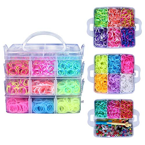OSOPOLA Rainbow Loom Bands Kit with 4500 Rubber Bands 15 Colors 6 Small Hook 48pcs S-Clips 2 Loom Monster Tail 50 Beads 6 Pendants and Great Storage Case for Kids DIY Toy Educational Game (Fairy) -