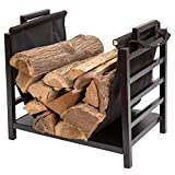 DOEWORKS 18 Inch Firewood Racks Fireplace Log Holder with Canvas Carrier