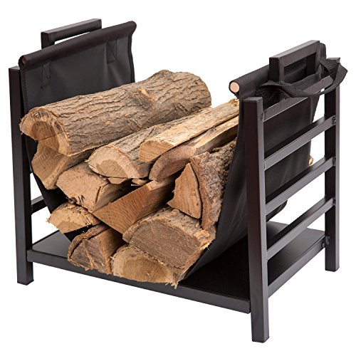 (DOEWORKS 18 Inch Firewood Racks Fireplace Log Holder with Canvas Carrier)