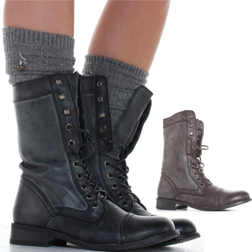 Womens Military Style Army Combat Worker Ladies Lace Up Ankle Boots Size   Amazon Co Uk Shoes Bags