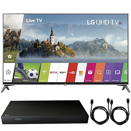 LG 55UJ7700 - 55-inch UHD 4K HDR Smart LED TV (2017 Model) + 4K Ultra-HD Blu-Ray Player w/ 3D Capability + 2x 6ft High Speed HDMI Cable