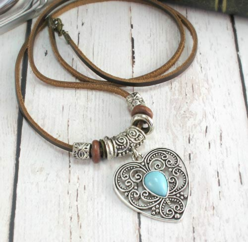 - Valentines Day Gift for Mom, Boho Jewelry, BOHEMIAN NECKLACE, Boho Necklace, Valentines Gift For Women, Cowgirl Necklace, Turquoise Heart Pendant on Long Leather Cord