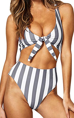 Sexy Tie Front - Farktop Womens Swimsuits High Waisted One Piece Bathing Suits Sexy Tie Knot Front Bikini (2-Grey, Small)