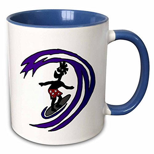 3dRose All Smiles Art Sports and Hobbies - Funny Funky Surfer Dude Riding the Waves in Red Swimsuit - 11oz Two-Tone Blue Mug (mug_240010_6)