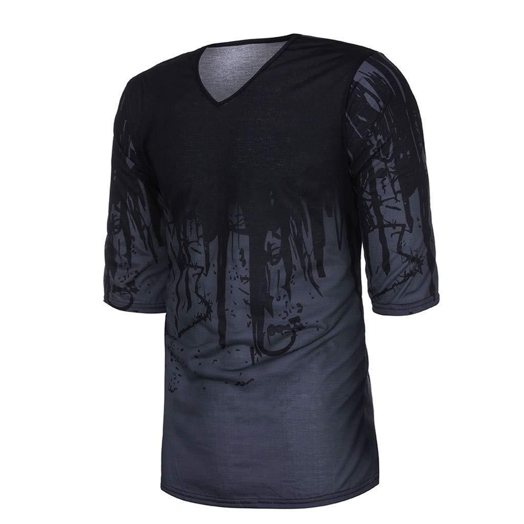 Mens V-Neck Personalized Gradient Striped Pattern Casual Fashion Lapel Short Sleeve Shirt aiNMkm Fashion Tops