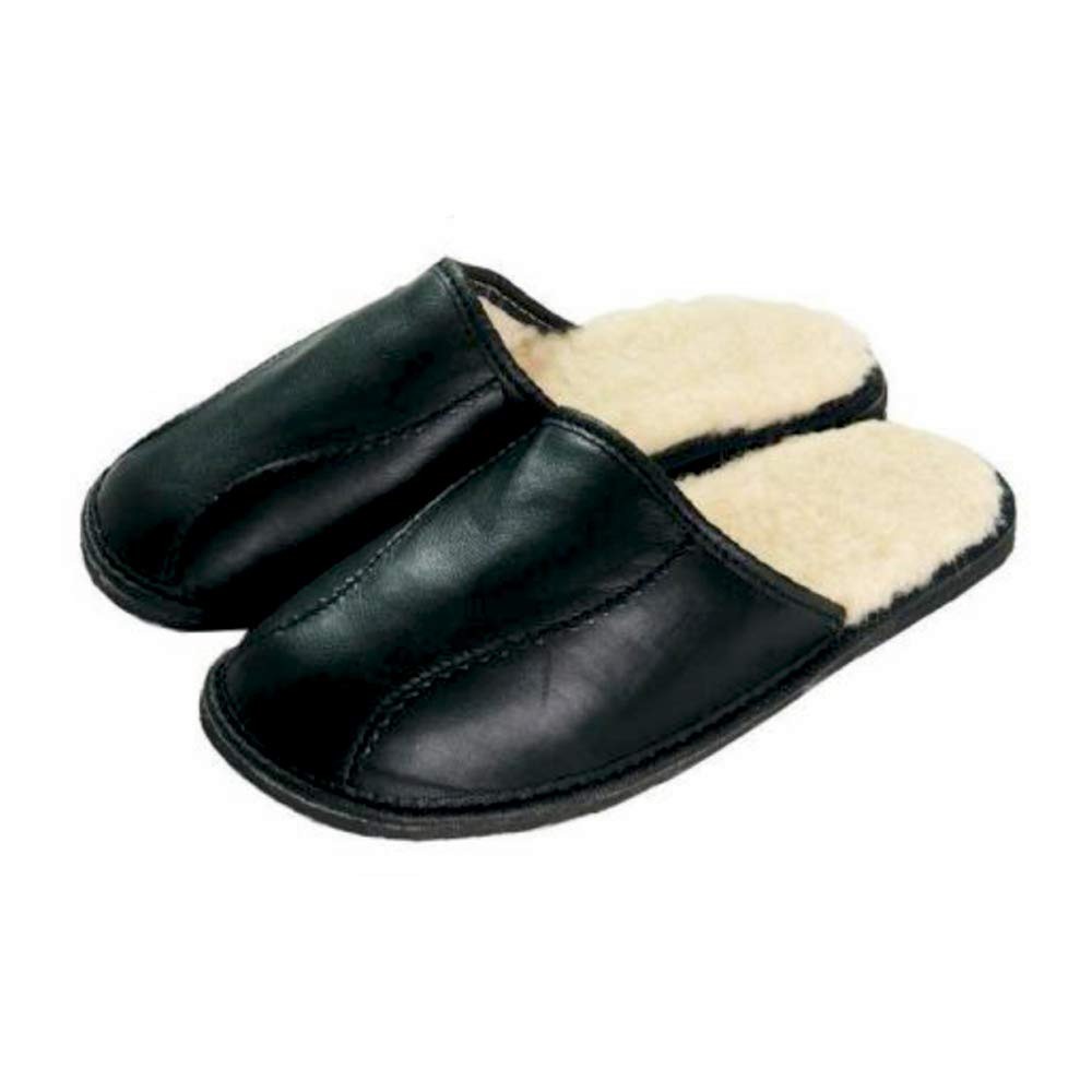Classic Indoor Warm Soft Durable Healthy Natural Leather Sheep Wool Fluffy Black Mens Men slippers mules plus size 7 8 9 10 11 12 P1