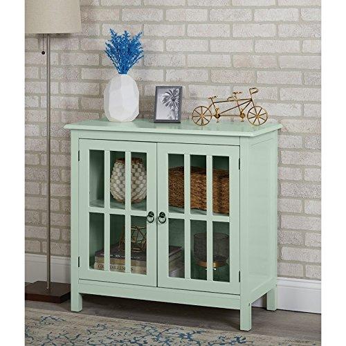 - Simple Living Portland Glass Door Cabinet (Green)
