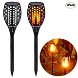 HULPPRE Solar Torch Light Flickering Flame Outdoor 96leds Solar Garden Light Waterproof Decoration Path Lighting Auto on/off Dusk to Dawn for Patio,Yard,Porch,Deck,Pool,Driveway (2Pack)