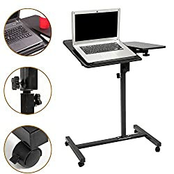 Laptop Table Mobile Desk Cart Adjustable Laptop Cart Portable Black Computer Desk , Height Adjustable 28.7 To 35.8 Inches Laptop Stand