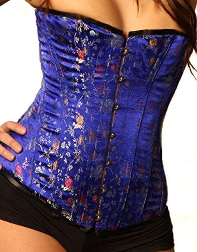 (Leatherotics Back Lacing Tight Bule Silk Overbust Brocade Corset 1801B (30