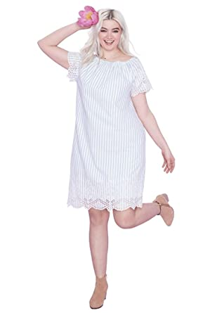 84d570fc05a Ellos Women s Plus Size Scalloped Eyelet Hem Dress at Amazon Women s  Clothing store
