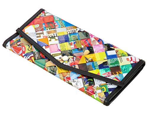 Large snap wallet made of candy wrappers - FREE SHIPPING - recycled cash credit card insert gum paper wrapper Fair trade ethical fun present presents inspiring alternative ideas functional beautiful