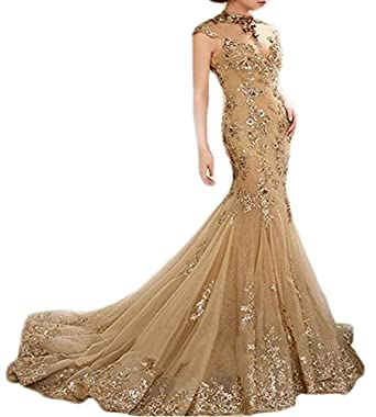 Andybridal High Neck Lace Long Prom Dresses Backless Mermaid Evening Dresses For Women