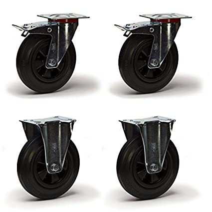 4 ruedas pivotantes. fija 125 mm caucho LOT9951-Rueda pivotante mango de chapa de