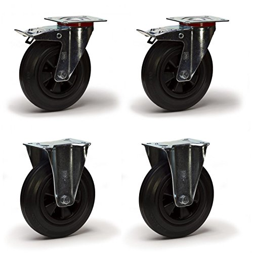 Color : with Brake, Size : 3inch-M16*30 Pivotant 3//4//5 Pouces Heavy Duty Frein de Roue M16 roulettes Stem Roulement de Roue Roues de Transport for Chariot