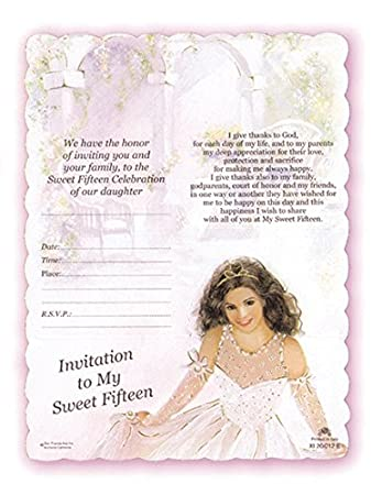 Amazoncom Quinceanera Invitations Beautiful English Sweet 15