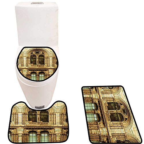Non-Slip Bathroom Toilet Mat Architecture European City Building in London British Culture Art Photo Print Sepia 3 Pieces Microfiber Soft