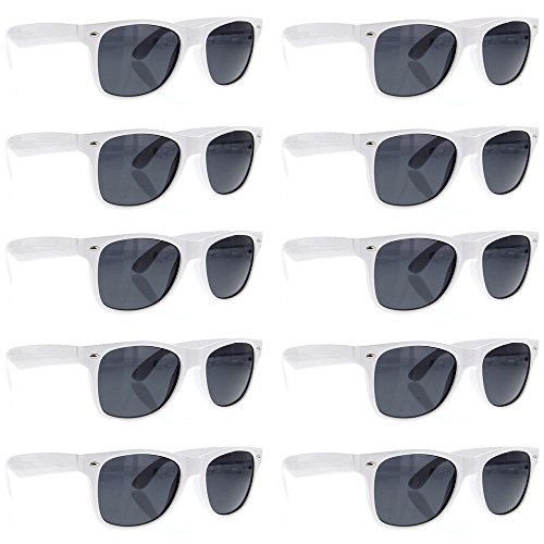 BULK WHOLESALE UNISEX 80'S RETRO STYLE BULK LOT PROMOTIONAL SUNGLASSES - 10 PACK - Wayfarers White