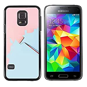FECELL CITY // Duro Aluminio Pegatina PC Caso decorativo Funda Carcasa de Protección para Samsung Galaxy S5 Mini, SM-G800, NOT S5 REGULAR! // Wall Painting Art Pink Light Blue Scroll