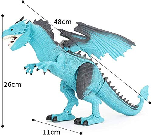 EMONO Remote Control Fire Dragon for Kids - RC Walking Dinosaur Robot T-Rex with Wings-Head-Body Movement (Blue)