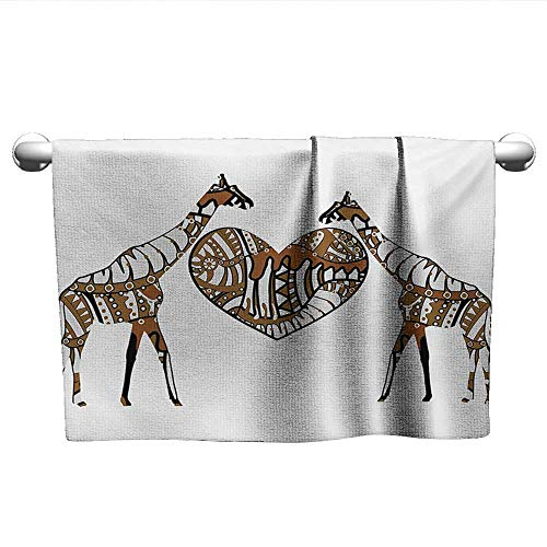 alisoso African,Wholesale Towels Soul Mate Giraffes with A Giant Heart Valentines Love in Nature Bohemian Print Bathroom Hand Towels Brown White W 24