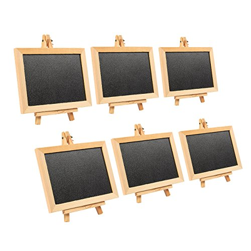 Wooden Framed Chalkboard Sign - 6-Pack Decorative Removable Chalk Board with Easel Stand - for Restaurants, Weddings, Cafe, Black, 10 x 14 inches by Juvale