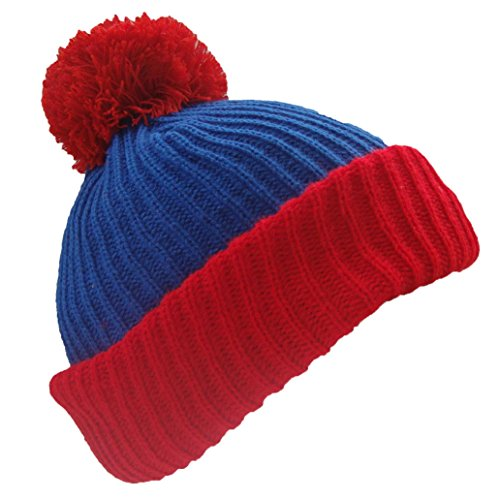 The Cosplay Company Men's South Park Cartman Bobble Winter Snowboarding Hat One Size Blue With Red