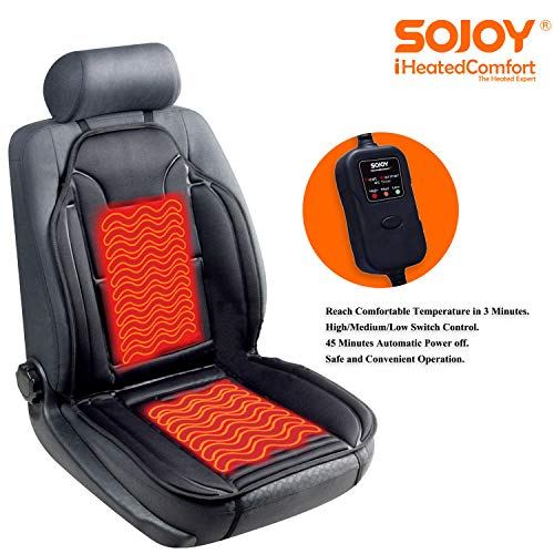 12V Car Heated Seat Cover Car Seat Warmer with 3-Way Temperature Controller Heated Seat Cushion Car Heater Black Tvird Heated Car Seat