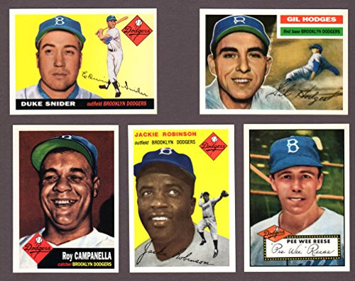 Dodgers (5) Card Heros and Hall of Famer Vintage Baseball REPRINT Lot #66 (Jackie Robinson) (Pee Wee Reese) (Duke...