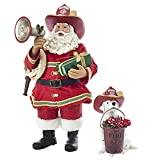 Kurt S. Adler 10.5'' Fireman Santa with Dalmatian Figure (Set of 2), 2 Piece