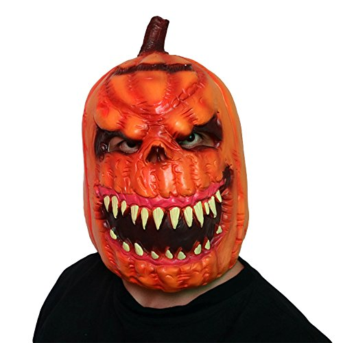 (Halloween New Deluxe Novelty Halloween Scary Costume Party Props Latex Pumpkin Head Mask)
