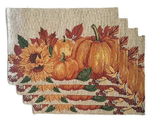 Thanksgiving Placemats Fall Harvest Pumpkins - Set of 4