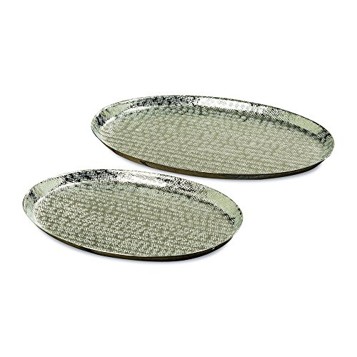 The Grand Hotel Silver Decorative Oval Trays, Servers, Plates, Set of 2, Reflective Textural Etched Patterns, Hand Cast Aluminum, 16 and 13 1/2 Inches, By Whole House Worlds (Round Large Tray Silver)