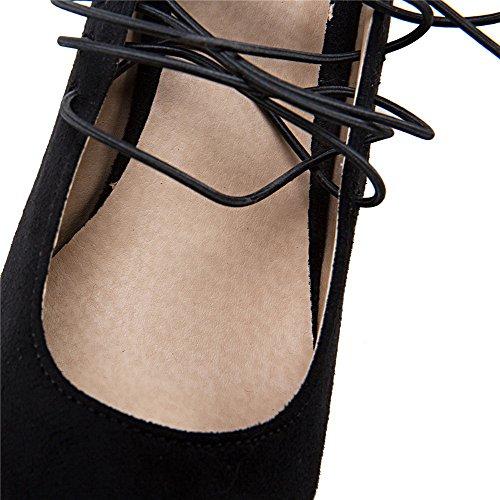 Tacco Allacciare Ballerine Medio Plastica VogueZone009 Donna Nero Punta Puro Quedrata qRwWHRIUYT