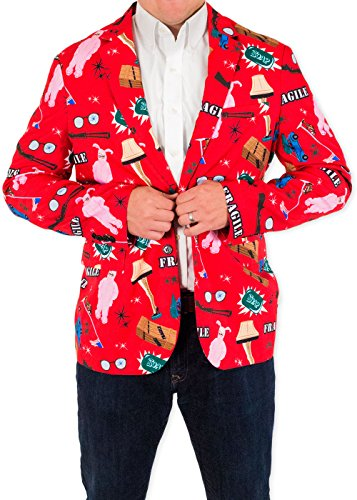 Men's A Christmas Story Leg Lamp Fragile Holiday Suit Coat and Tie By Festified (52) (Mens Christmas Suits)